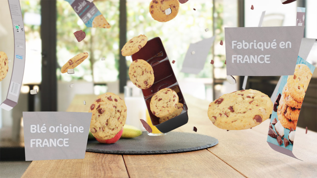 Carrefour Cookies explosion 3d